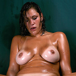 Oiled Wet Chair - Big Tits, Brunette, Shaved, Close-Ups