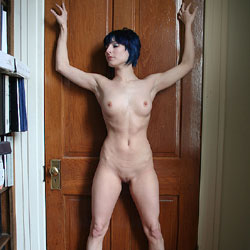 Nude Against The Door - Black Hair, Erect Nipples, Indoors, Perfect Tits, Shaved Pussy, Sexy Body, Sexy Legs, Young Woman