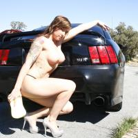 Roadside Assistance 1 - Brunette, Public Exhibitionist, Public Place