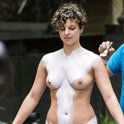 Body Painting In A NY Park Continued - Big Tits, Public Exhibitionist, Public Place, Shaved