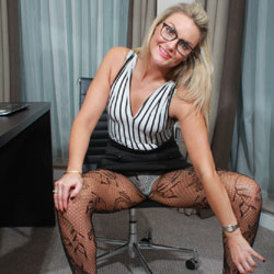 Sexy Blonde Wearing Eyeglasses - Blonde Hair, Chair, Heels, Stockings, Sexy Legs, Sexy Panties