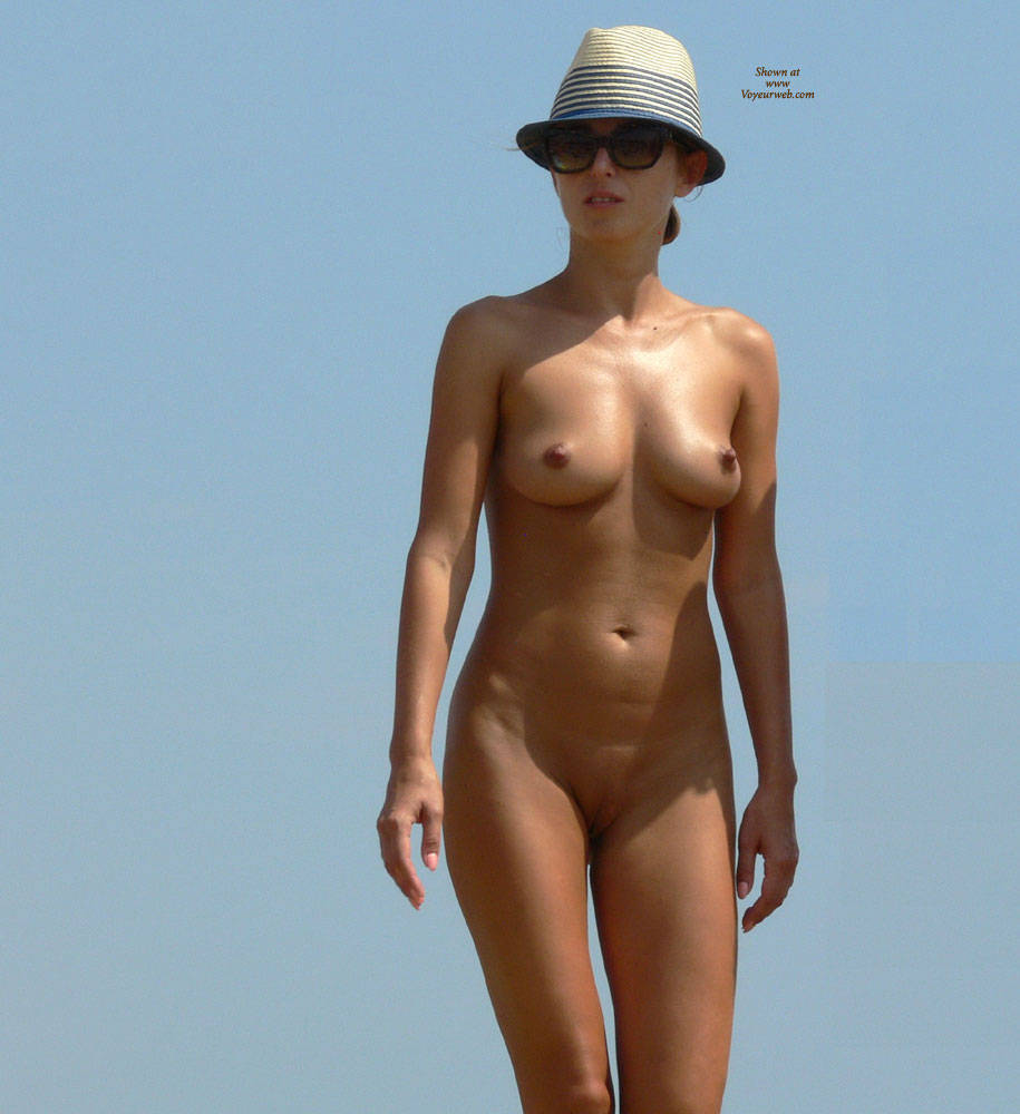Pic #1 Waiting For The Sun - Big Tits, Brunette, Beach Voyeur, Outdoors, Shaved