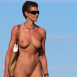 Waiting For The Sun - Big Tits, Brunette, Beach Voyeur, Outdoors, Shaved