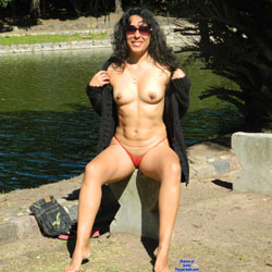 Nude Brunette In A Public City Park - Brunette Hair, Naked Outdoors, Nipples, Nude Outdoors, Perfect Tits, Sunglasses, Sexy Body, Sexy Legs, Sexy Panties
