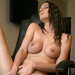 Naked Brunette Playing Her Pussy - Big Tits, Brunette Hair, Chair, Perfect Tits, Shaved Pussy, Sexy Body, Sexy Legs, Toys