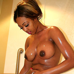 Shower And Shave - Big Tits, Ebony