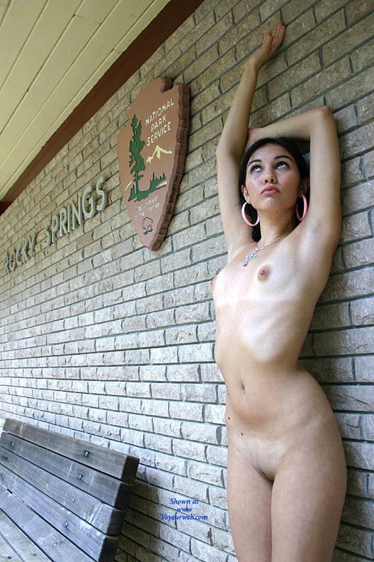 Pic #1 Info Center - Brunette, Public Exhibitionist, Public Place, Shaved, Natural Tits