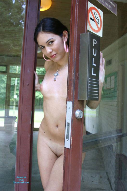 Pic #7 Info Center - Brunette, Public Exhibitionist, Public Place, Shaved, Natural Tits