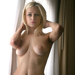 Naked Blonde At The Window - Big Tits, Blonde Hair, Full Frontal Nudity, Full Nude, Indoors, Shaved Pussy, Sexy Girl, Sexy Legs