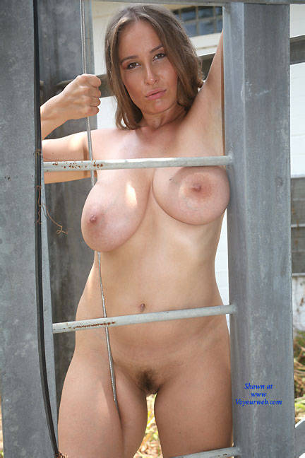 Pic #3 Iron Ladder - Big Tits, Bush Or Hairy, Brunette, Outdoors