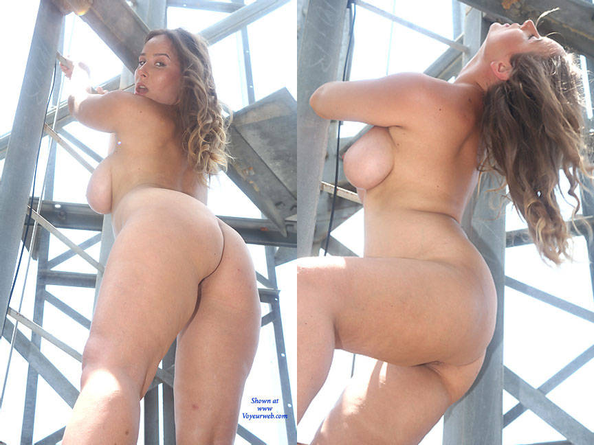 Pic #8 Iron Ladder - Big Tits, Bush Or Hairy, Brunette, Outdoors
