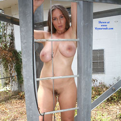 Iron Ladder - Big Tits, Bush Or Hairy, Brunette, Outdoors