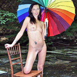 Naked In A Stream With Chair And Umbrella - Brunette Hair, Chair, Full Frontal Nudity, Full Nude, Nipples, Nude In Nature, Nude In Public, Nude Outdoors, Shaved Pussy, Showing Tits, Spread Legs, Tattoo, Naked Girl, Sexy Body, Sexy Girl, Sexy Legs