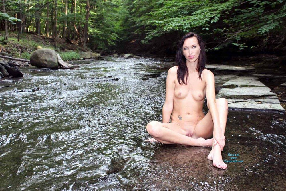 Pic #6 Naked In A Stream Outdoors 2 - Brunette, Outdoors, Nature