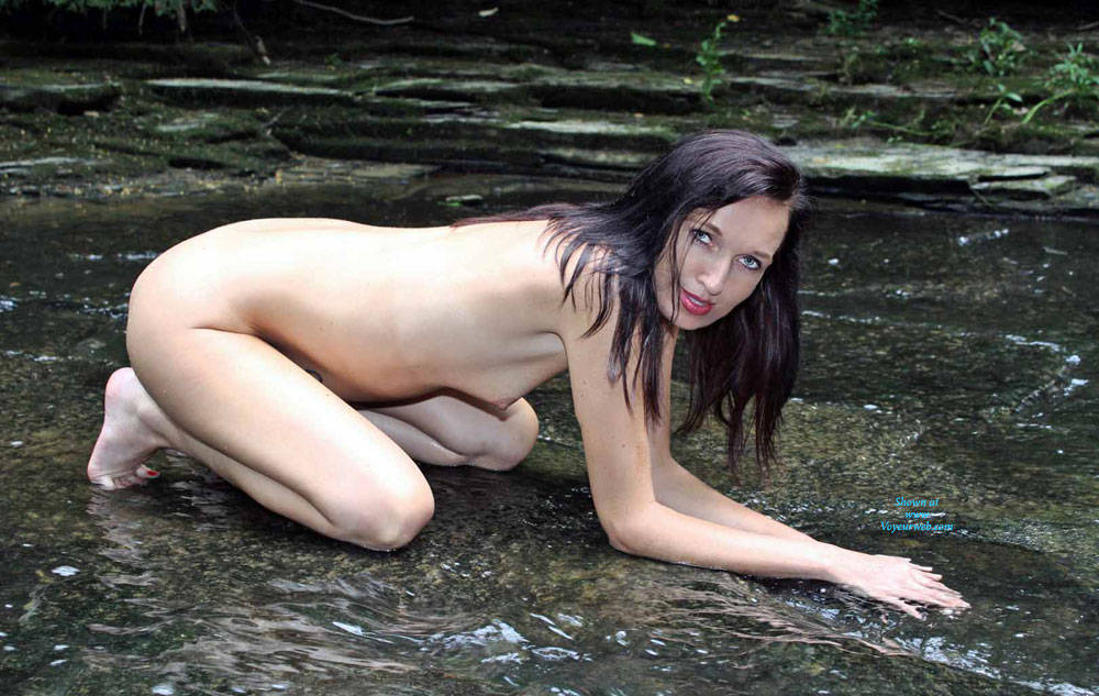 Pic #4 Naked In A Stream Outdoors 3 - Nude Girls, Brunette, Outdoors, Nature, Tattoos