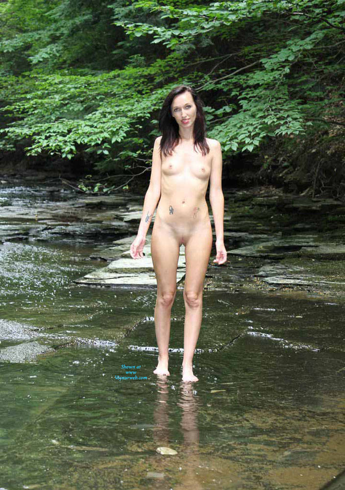 Pic #1 Naked In A Stream Outdoors 3 - Nude Girls, Brunette, Outdoors, Nature, Tattoos