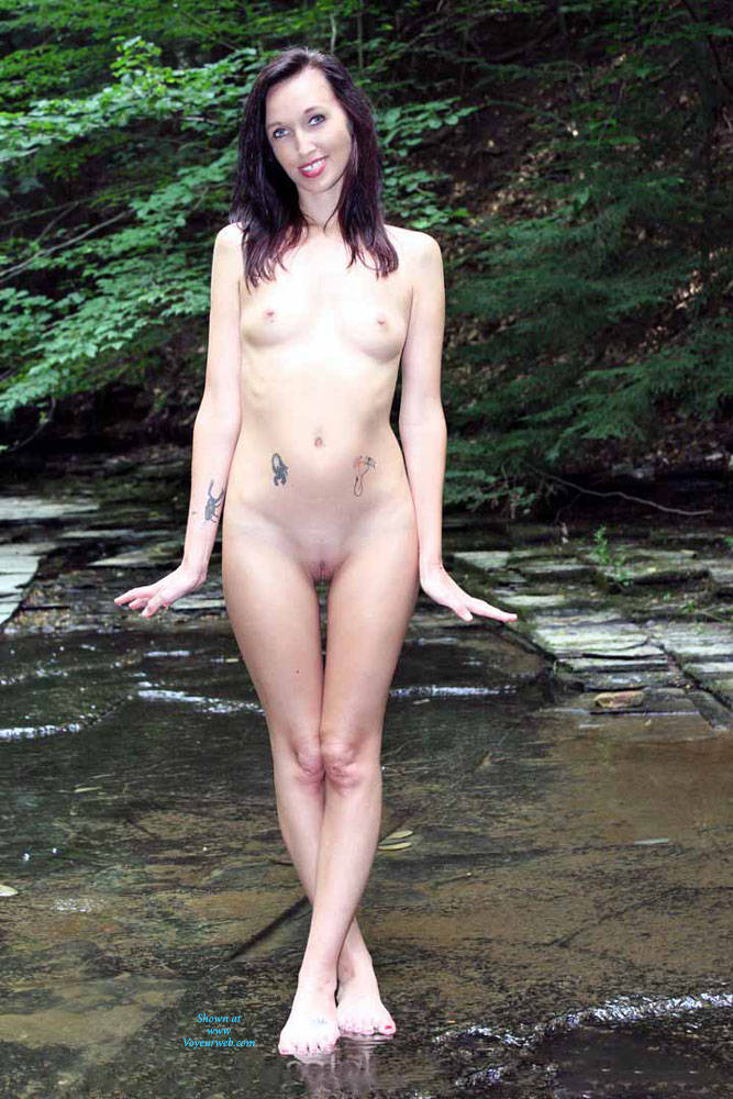 Pic #2 Naked In A Stream Outdoors 4 - Brunette, Outdoors, Nature, Nude Girls, Natural Tits, Medium Tits, Firm Ass, Tattoos