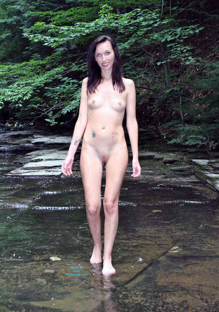 Pic #1 Naked In A Stream Outdoors 4 - Brunette, Outdoors, Nature, Nude Girls, Natural Tits, Medium Tits, Firm Ass, Tattoos