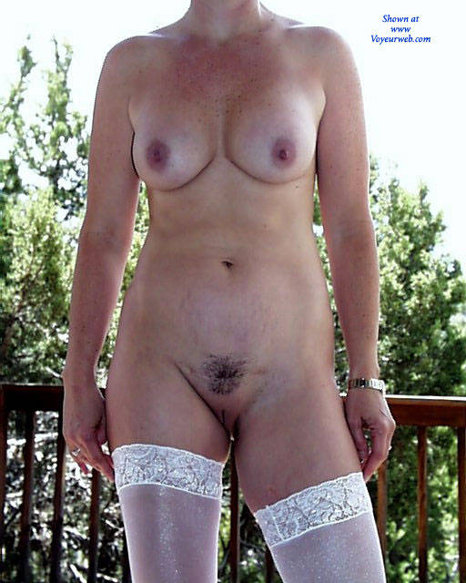 Pic #2 Naked On The Deck At Noon - Brunette, High Heels Amateurs, Lingerie, Amateur, Outdoors