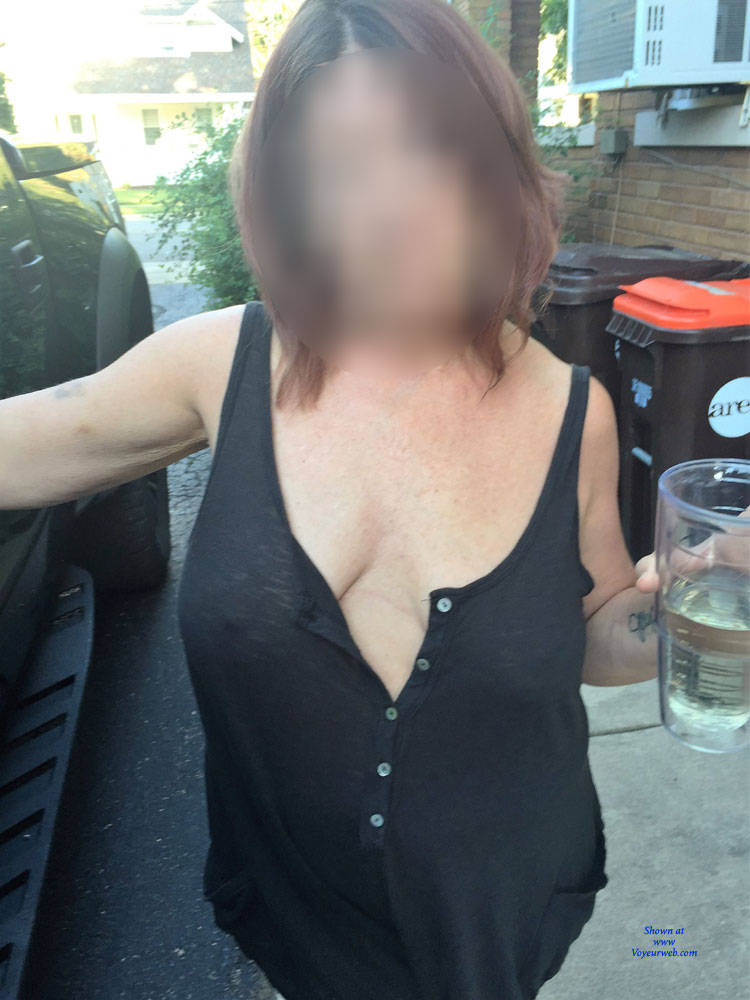 Pic #3 First Time Posting - Big Tits, Public Exhibitionist, See Through, Flashing, Public Place