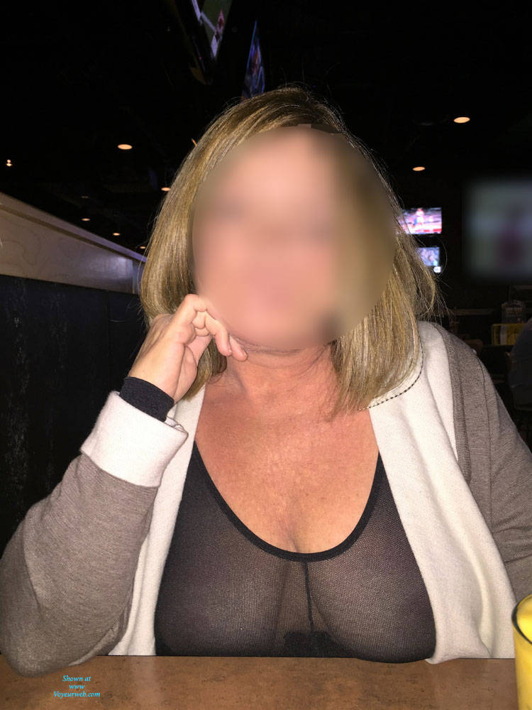 Pic #2 First Time Posting - Big Tits, Public Exhibitionist, See Through, Flashing, Public Place