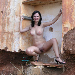 Sexy T Outdoors At Ruins - Nude Girls, Big Tits, Brunette, High Heels Amateurs, Outdoors, Amateur
