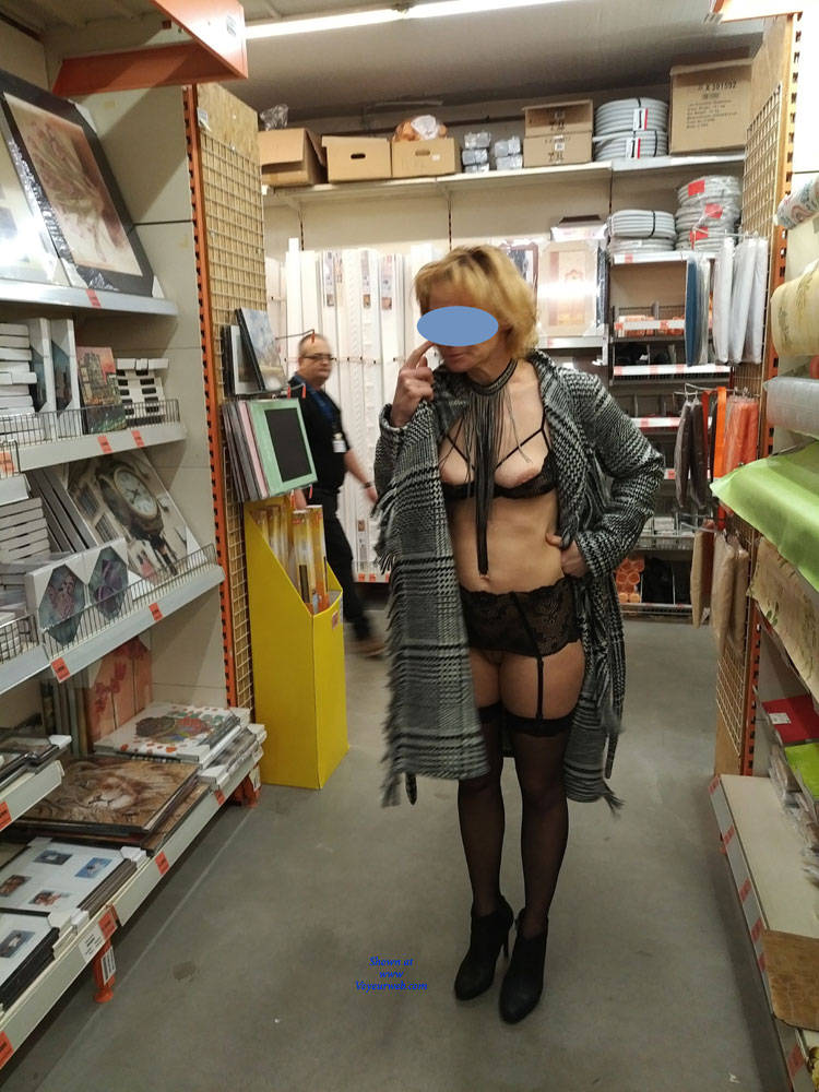 Pic #3 In The Shop - Public Exhibitionist, Flashing, Lingerie, Public Place, Shaved, Gf