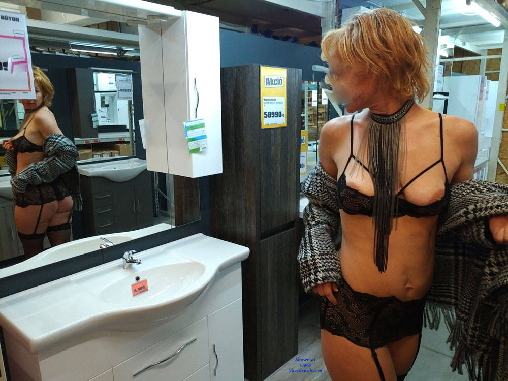 Pic #4 In The Shop - Public Exhibitionist, Flashing, Lingerie, Public Place, Shaved, Gf