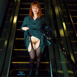 Flashing In The Mall - Public Exhibitionist, Flashing, Public Place, Redhead, Bush Or Hairy