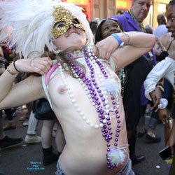 Mardi Gras Naked Celebration - Exposed In Public, Firm Tits, Flashing Tits, Flashing, Hard Nipple, Nude In Public, Showing Tits, Small Tits, Topless Girl, Sexy Body, Sexy Girl, Costume , Naked In Public, Small Tits, Hard Nipples, Necklaces, Mask