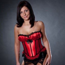 Sexy Red Corset - Brunette, High Heels Amateurs, Lingerie