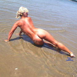 Naked Blonde Enjoying Beach Water - Blonde Hair, Exposed In Public, Naked Outdoors, Nude Beach, Nude In Public, Beach Voyeur, Sexy Ass, Sexy Body, Sexy Figure, Sexy Girl, Sexy Legs