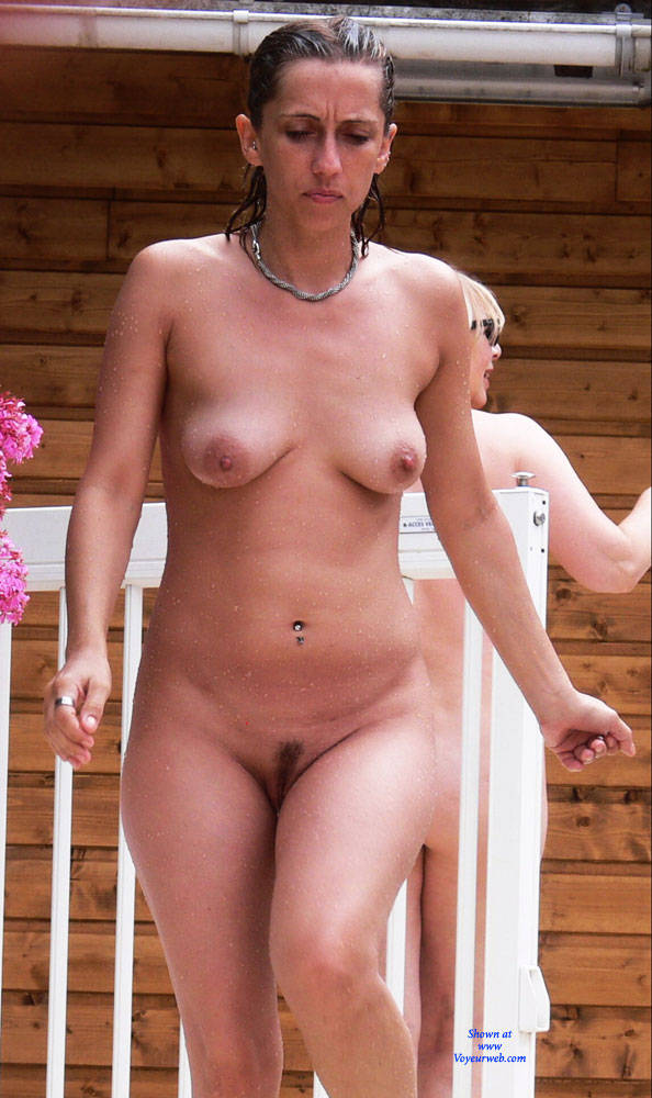 Pic #1 Swimming Pool - Nude Girls, Big Tits, Brunette, Outdoors, Bush Or Hairy