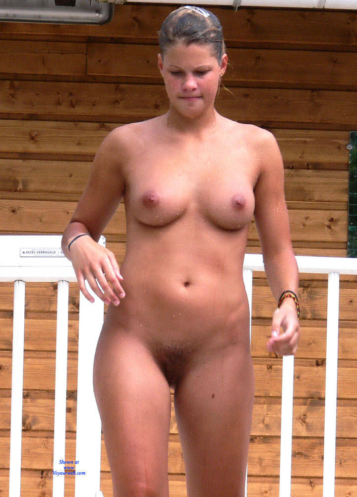 Pic #3 Swimming Pool - Nude Girls, Big Tits, Brunette, Outdoors, Bush Or Hairy