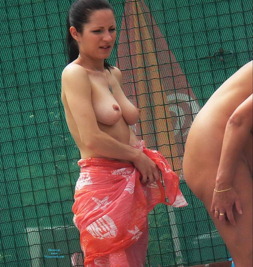 Pic #5 Swimming Pool - Nude Girls, Big Tits, Brunette, Outdoors, Bush Or Hairy