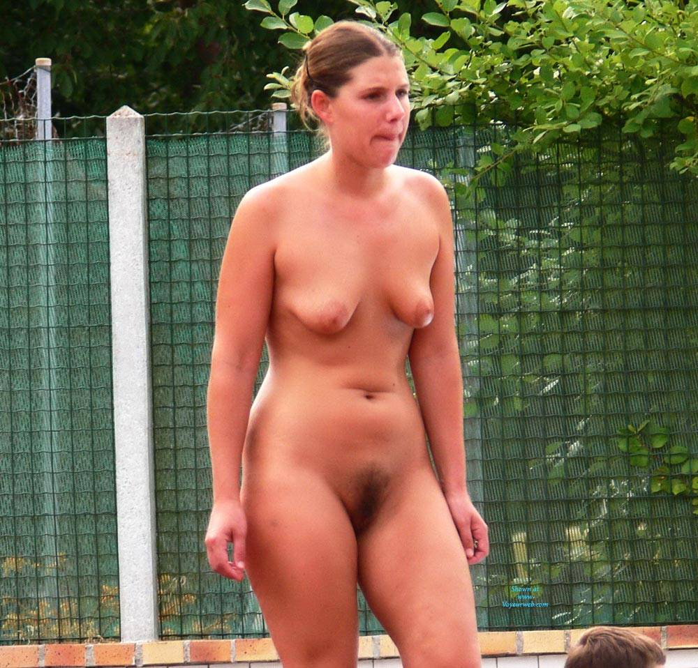 Pic #6 Swimming Pool - Nude Girls, Big Tits, Brunette, Outdoors, Bush Or Hairy
