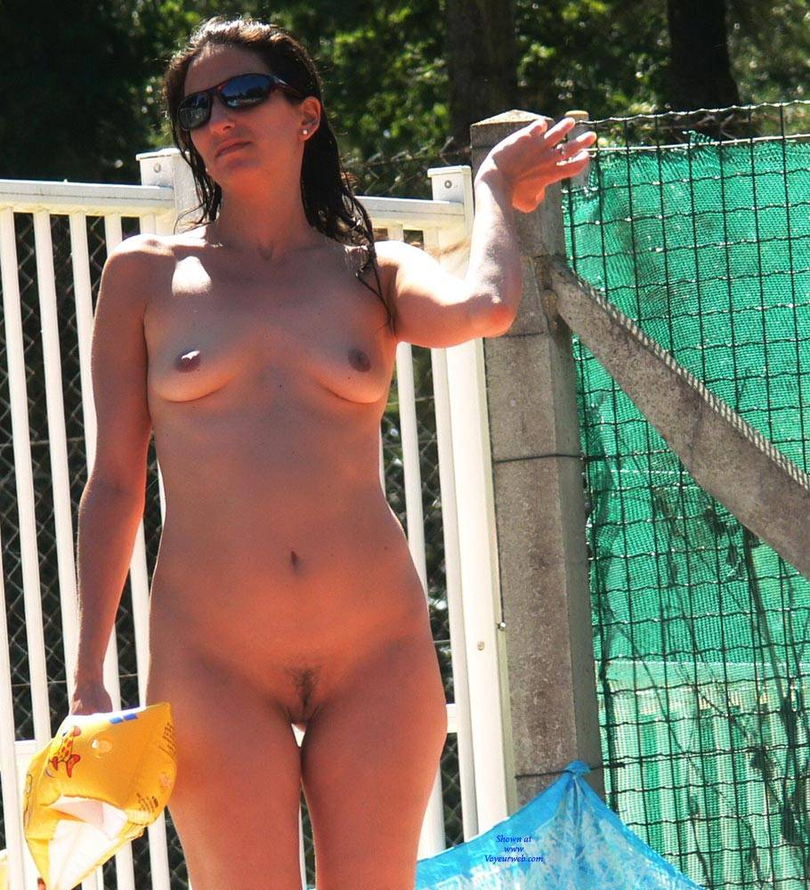 Pic #7 Swimming Pool - Nude Girls, Big Tits, Brunette, Outdoors, Bush Or Hairy