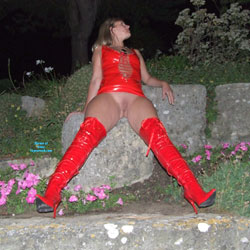 Red PVC Fun - High Heels Amateurs, Outdoors, Shaved, Pantieless Girls