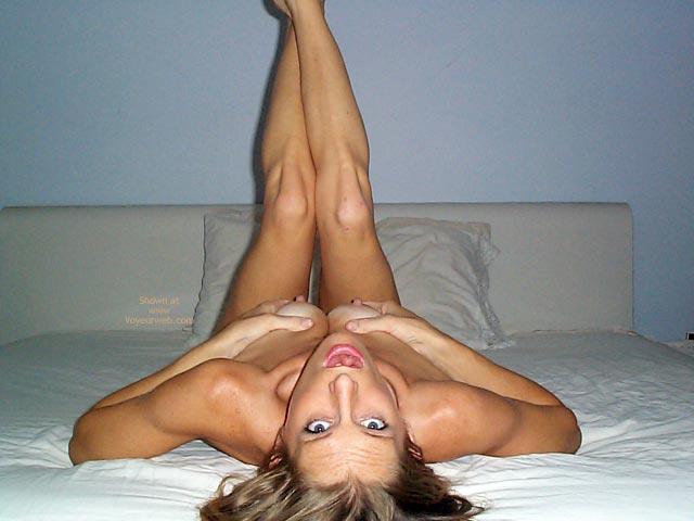 Pic #1 - Bed Grabbing Breasts - Erect Nipples , Bed Grabbing Breasts, Bed Legs Up, Squeezing Tits, Erect Nipples