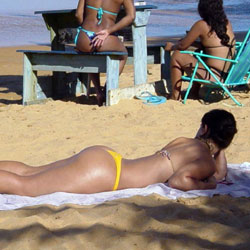 Yellow Bikini In Janga Beach, Brazil - Brunette, Outdoors, Bikini Voyeur, Beach Voyeur