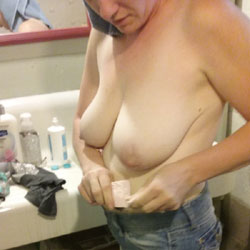 My Wife Getting Out Of The Shower - Nude Wives, Big Tits, Amateur