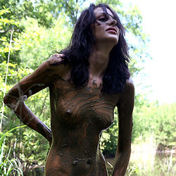 Playing in the Mud - Nude Girls, Brunette, Outdoors, Shaved