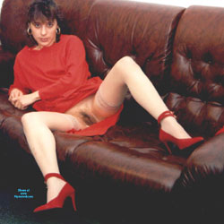 In Red - Pantieless Girls, Brunette, High Heels Amateurs, Bush Or Hairy, Amateur