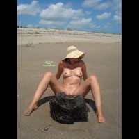 Nude Pose On The Sand - Erect Nipples, Hairy Bush, Natural Tits, Perfect Tits, Spread Legs, Tan Lines, Naked Girl, Nude Amateur