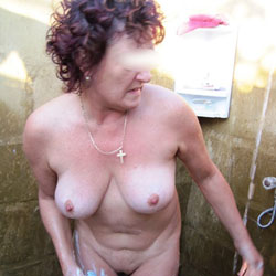 Outback Shower - Big Tits, Brunette, Outdoors