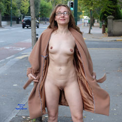Loyal Coat  - Brunette, Public Exhibitionist, Flashing, Outdoors, Public Place, Shaved