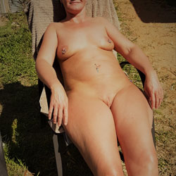 Nikola Tanning In Backyard - Outdoors, Shaved, Body Piercings, Nude Girls