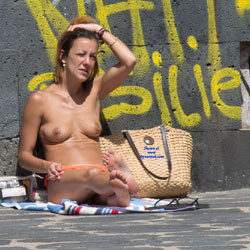 Sitting Naked By The Streets - Big Tits, Brunette Hair, Exposed In Public, Full Nude, Nude In Public, Nude Outdoors, Showing Tits, Topless Girl, Beach Voyeur, Naked Girl, Sexy Body, Sexy Boobs, Sexy Feet, Sexy Figure, Sexy Girl, Sexy Legs, Sexy Woman