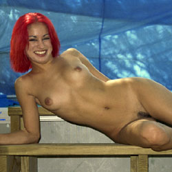 Red At The Photo Shoot - Hairy Bush, Nude Outdoors, Naked Girl, Amateur