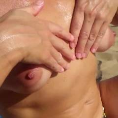 Oiling Tits - Topless Girls, Outdoors, Amateur
